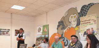 Da sinistra: Daniele Reponi biochef, Andrea Trenti Legambiente Modena, Roberto Zalambani Giornalista Presidente UNAGA FNSI, Graziano Poggioli ideatore del Festival, Alessandra Filippi Assessore Agricoltura Comune di Modena