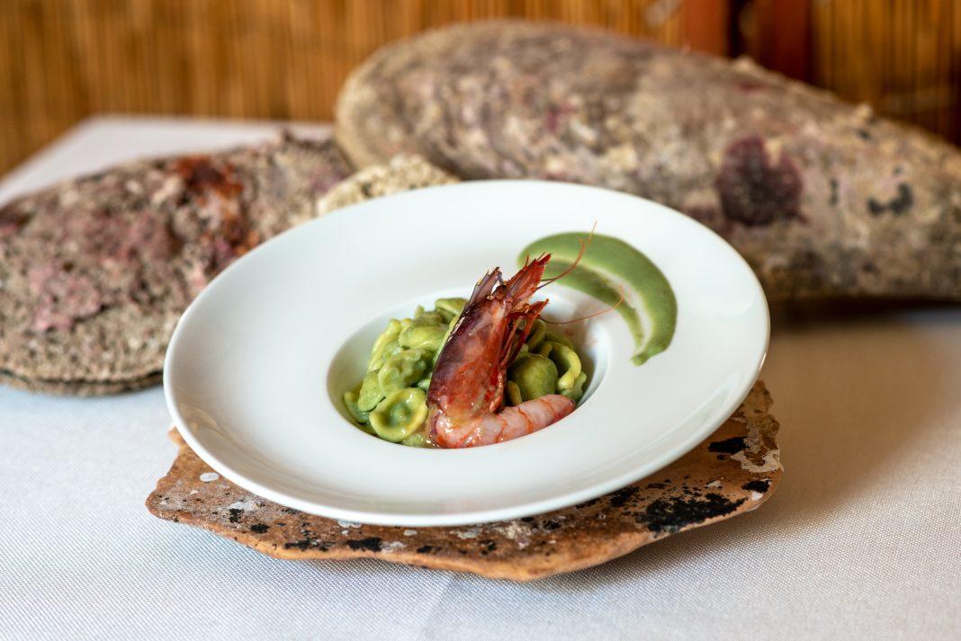 Orecchiette con gamberetti affumicati, alga spirulina e colatura di alici-phAntonio Zanatta