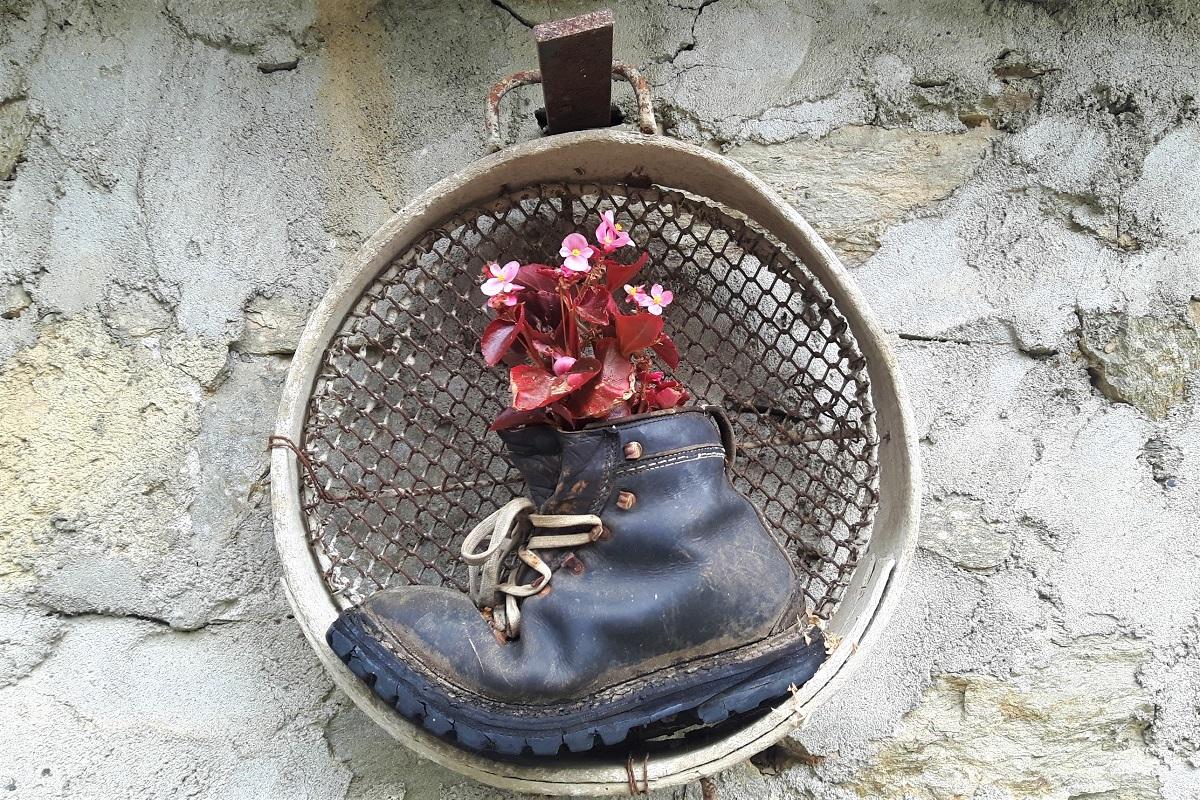 Vecchio scarpone e fiori di montagna. Ph credits Andrea Di Bella